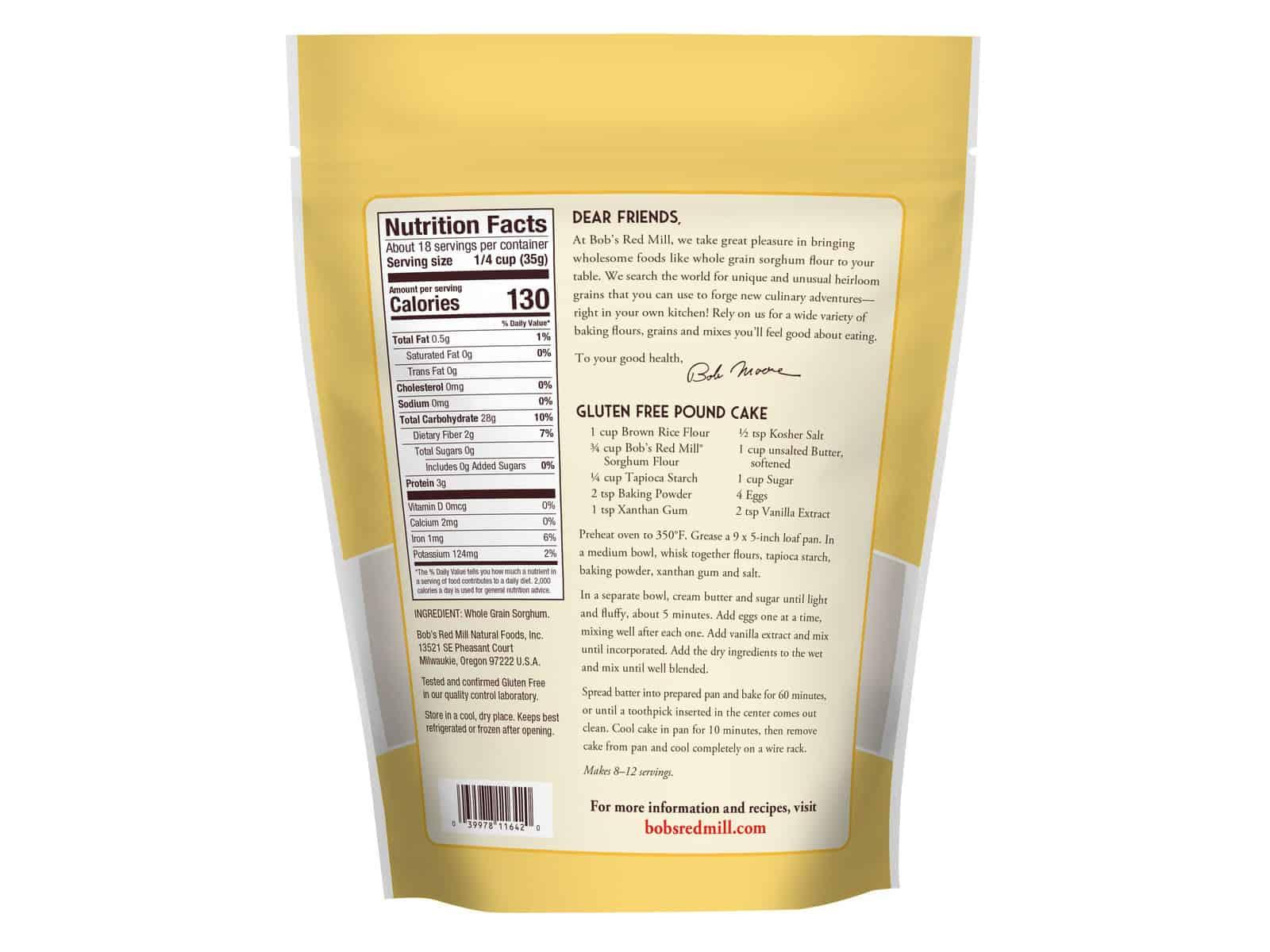 Bob's Red Mill Gluten Free Sorghum Flour - 22 oz. | Bulk ...